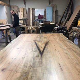 34-Maple Live Edge Table Clear Coat Finish