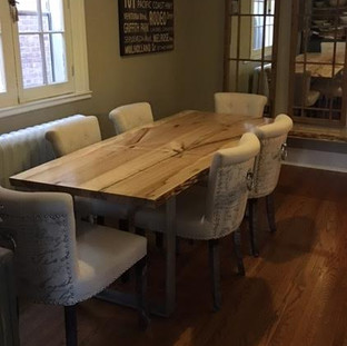 023B - Maple Bookmatched Maple Table with Clear Coat Finish /  Steel Square Legs