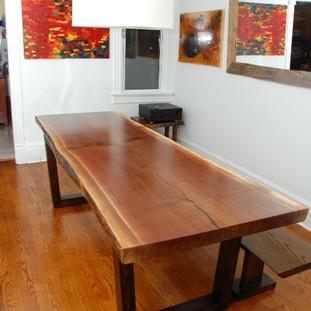 013 - Black Walnut Live Edge Table  Wood Picture Frame Leg - Single Slab