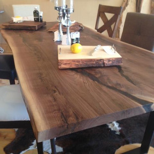 006 - Black Walnut Live Edge Table  Flatbar Black Steel Legs