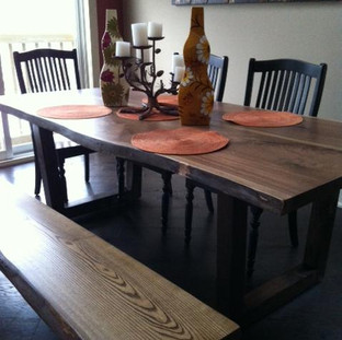 032 - Walnut Live Edge Table / Ash Live Edge Bench Stained to Match