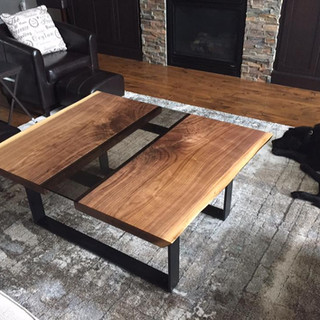 005 - BLACK WALNUT LIVE EDGE COFFEE TABLE WITH GLASS INLAY