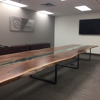 16 - 25' Black Walnut Live Edge Conference Table with Glass Inlay