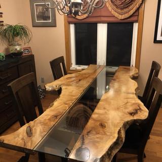 4 - Live Edge Single Slab Maple Table - Glass Inlay