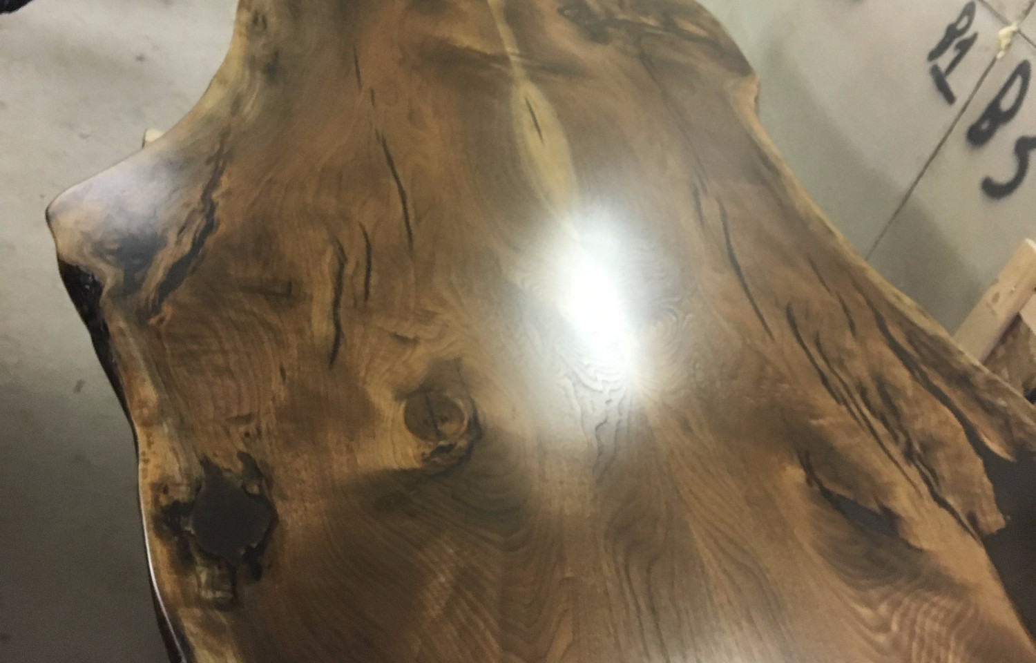 "TABLE 9' - 9'3"" BOOKMATCHED BLACK WALNUT LIVE EDGE TABLE"