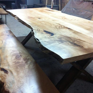 024A - Speciality Maple Bookmatched Table - Clear Coat                         - Matching Bench - X Frame Wood Leg