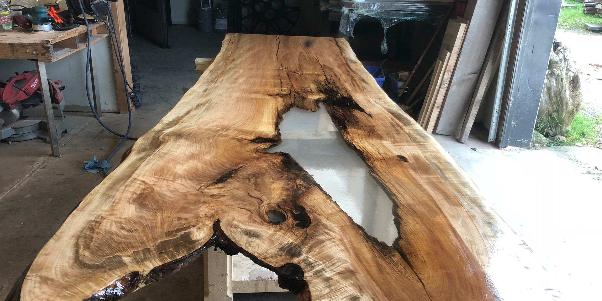 TABLE 02 - 10' SUPER RARE SINGLE SLAB MAPLE HARVEST TABLE WITH CUSTOM CLEAR RESIN INLAY RIVER TABLE