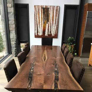 8-Live Edge Black Walnut Table With Custom Rock Inlay