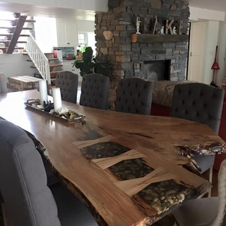 5- Maple Single Slab Harvest Table With Resin Inlay