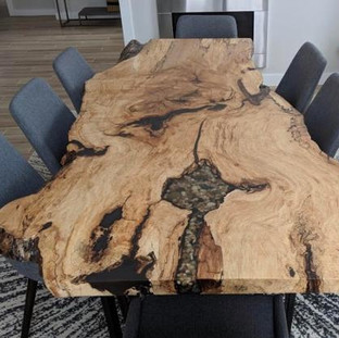 28B. Spalted Maple Live Edge Harvest Table/Custom Inlay  - SPECIALTY SLAB