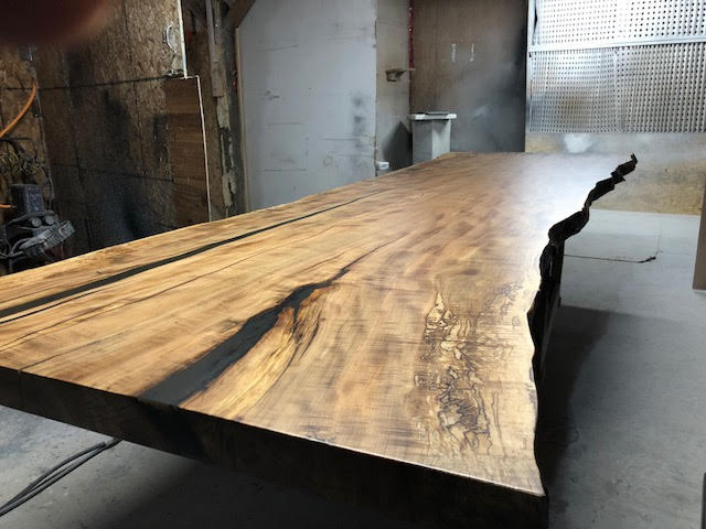 TABLE 12 - READY TO GO SUPER RARE 12' SINGLE SLAB RED MAPLE TABLE YOU CHOOSE THE LEG STYLE OF YOUR LIKING - CONTACT US FOR DETAILS
