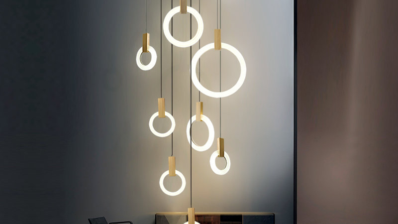 Modern LED Chandelier Ceiling Living Room Wooden Lighting