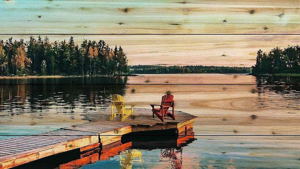 Wood Art - 2 ADIRONDACK CHAIRS/LAKE