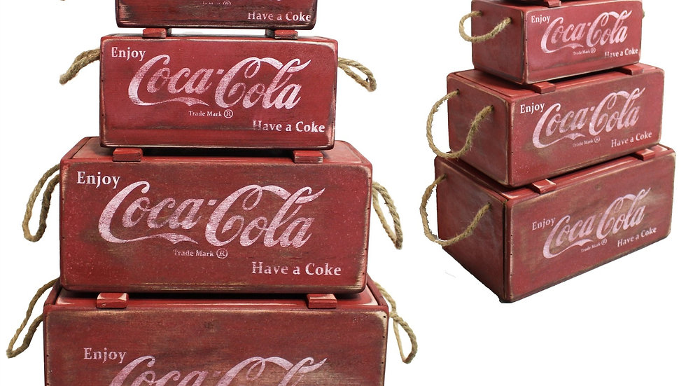 4 Pieces Red Wooden Boxes w/Rope -COCA-COLA