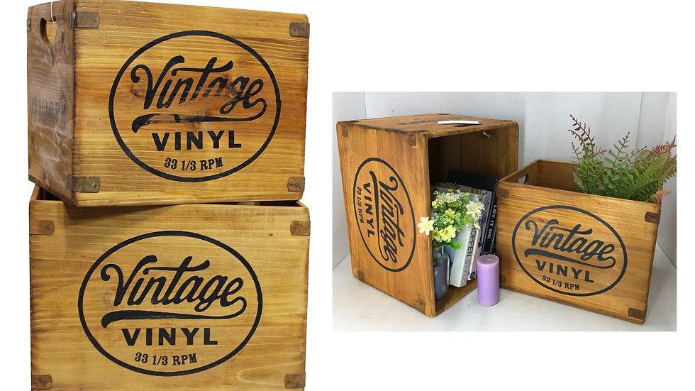 2-Piece Wood Nesting Crate -VINTAGE VINYL