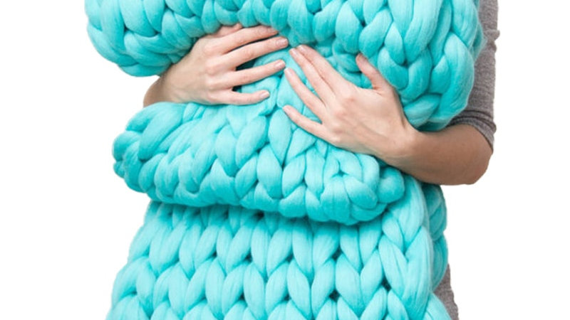 Large Soft Chunky Knitted Blanket