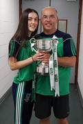 Limerick Ladies Football coach Jim Moran and daughter, Roisin  who was watere girl on Sund