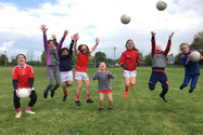 Jumping for joy as the Mungret St. Pauls Ladies Football players returned to training (1).