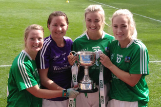 The victorus Limerick Ladies Football with the Junior Cup. Mungret St. Pauls players Olivi