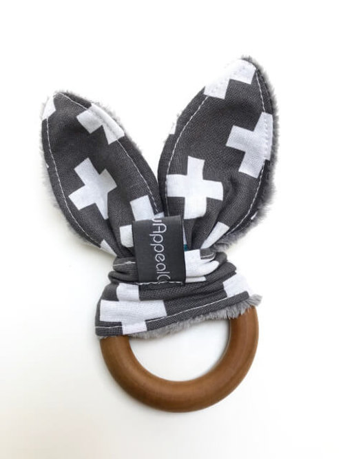 Grey Swiss Crosses Maple Teething Ring