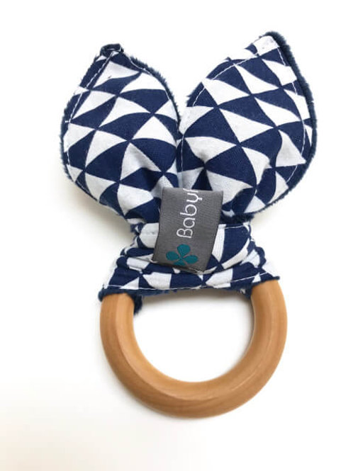 Navy Triangle Maple Teething Ring
