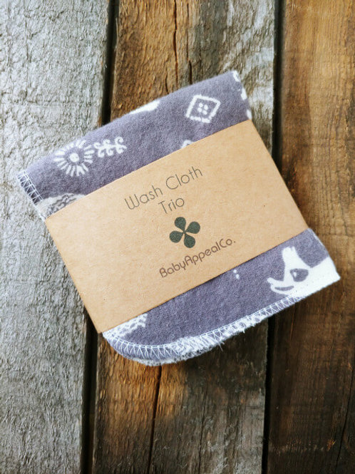 Grey Llamas Washcloth Trio