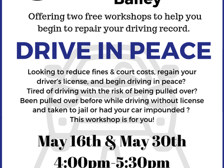 """Drive in Peace"" Workshops with Shareka Bailey"