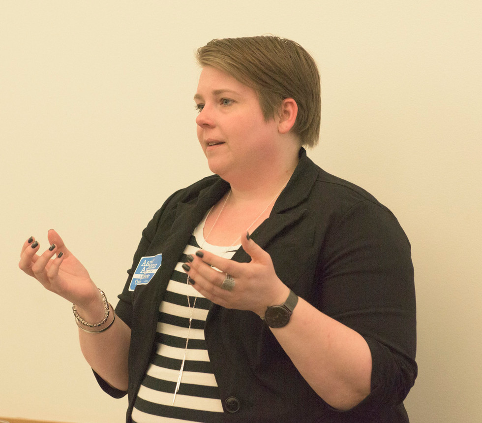 Aide to State Rep Carol Ammons, Michelle Jett, making an announcement at FirstFollowers_ CU Fees and Fines Event.jpg