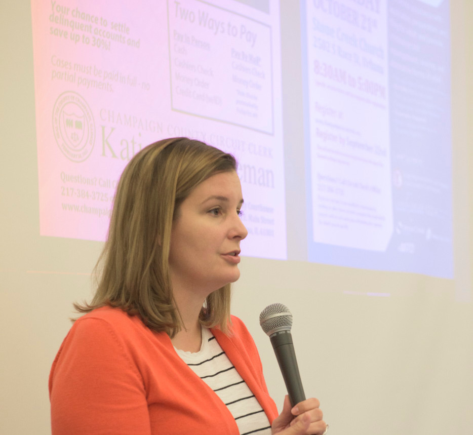 Champaign County Circuit Clerk Katie Blakeman addressing the audience at FirstFollowers_ CU Fees and Fines Event.jpg