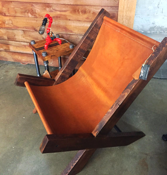 Design Trend Hand-made Reclaimed Wood and Leather Sling Chair