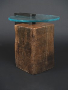 unique reclaimed block wood side table