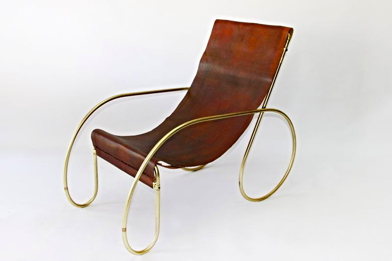 Design Trend Leather Sling Chair Unique Brass Frame