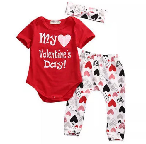 Cute 3PCS Valentineu0027s Day Set Newborn Baby Boys Tops Romper+Pants Headband Outfits  Clothes