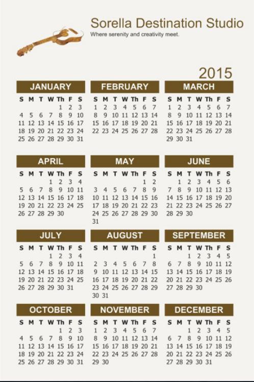 Sorella Destination Studio Calendar