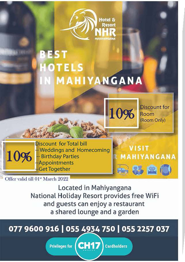 Book Now to get 10% Off from NHR - Mahiyangana