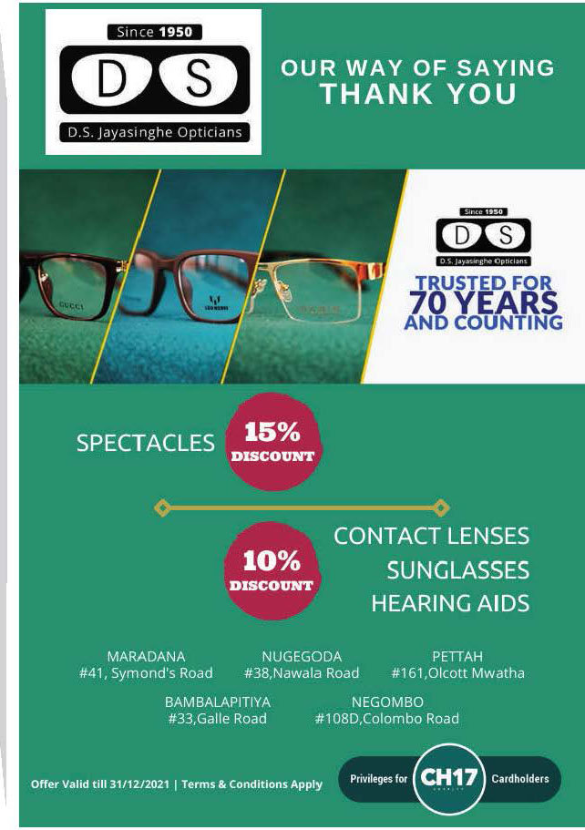 Up to 15% discounts from D.S. Jayasinghe Opticians