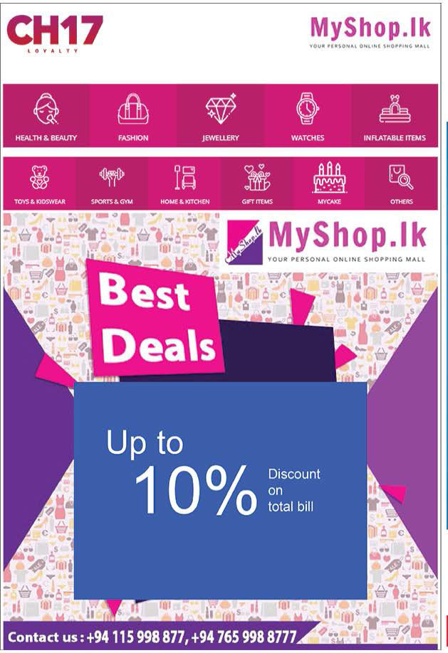 Upto 10% on Total bill from myshop.lk