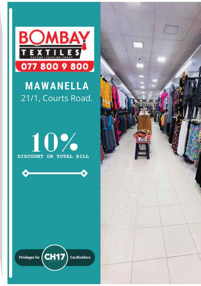 10% Discount from Total Bill from  BOMBAY Textiles