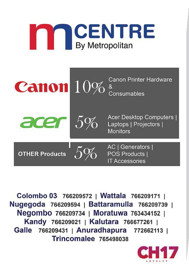 10% from Canon and 5% Off from all other products  from mcentre