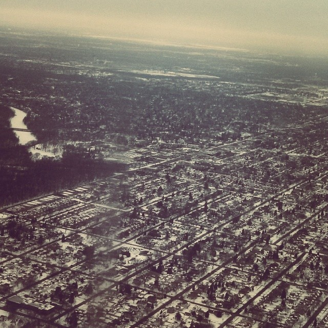 Aerial of Chicago Winter