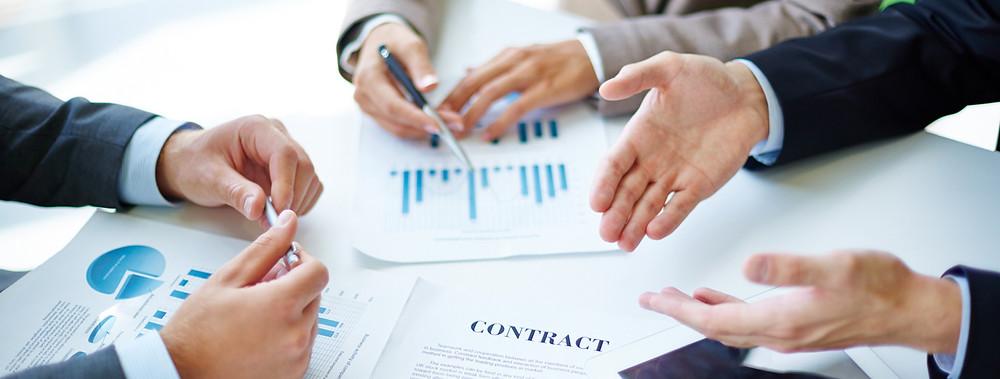 Negotiators in a business meeting