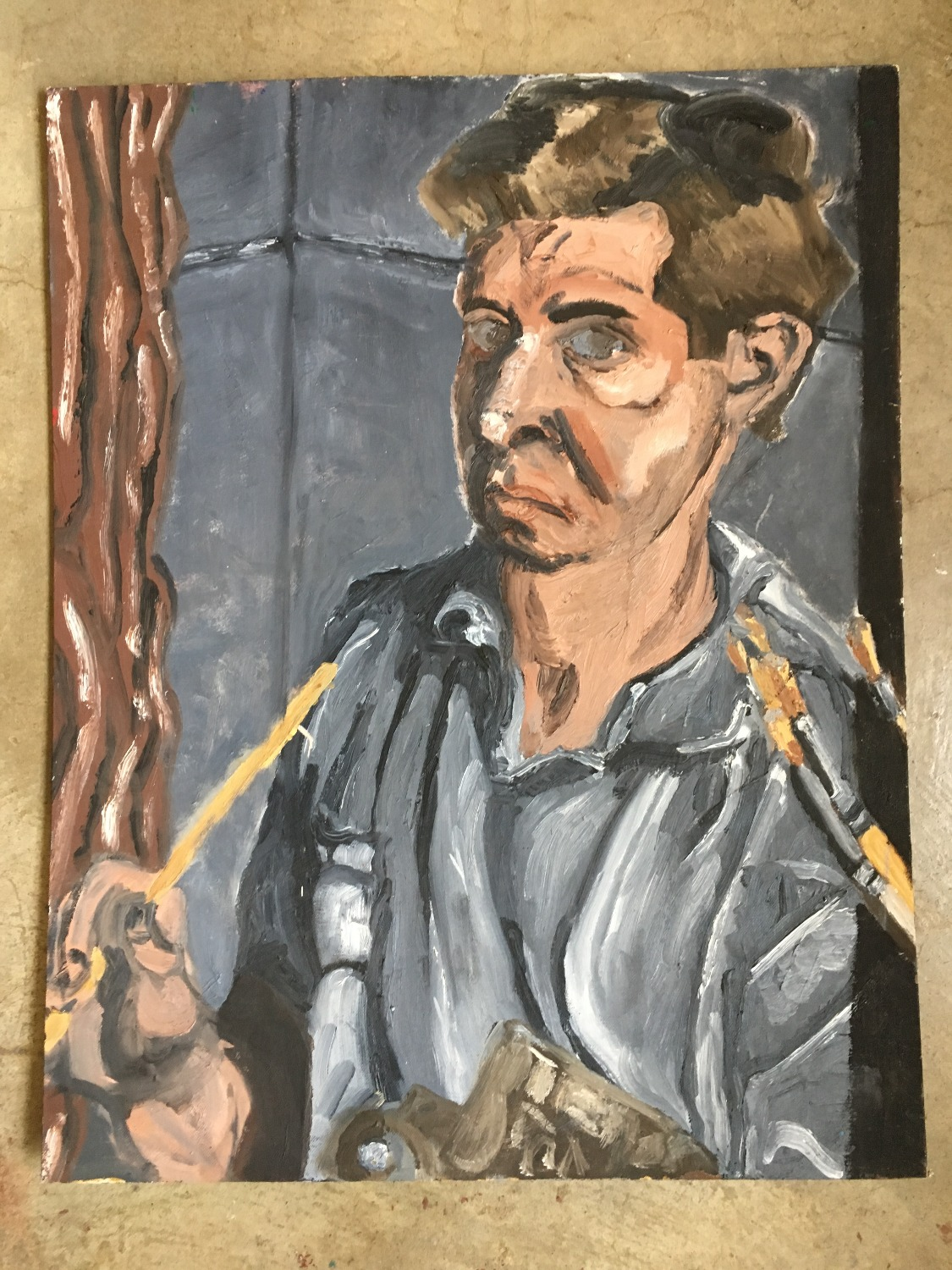 Self-portrait in Brown and Gray