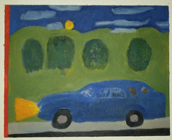 Blue Car in Landscape