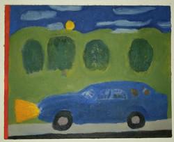Blue Car in Landscape