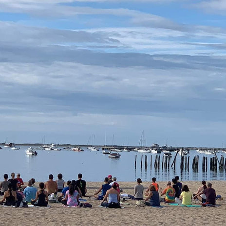 Morning beach yoga