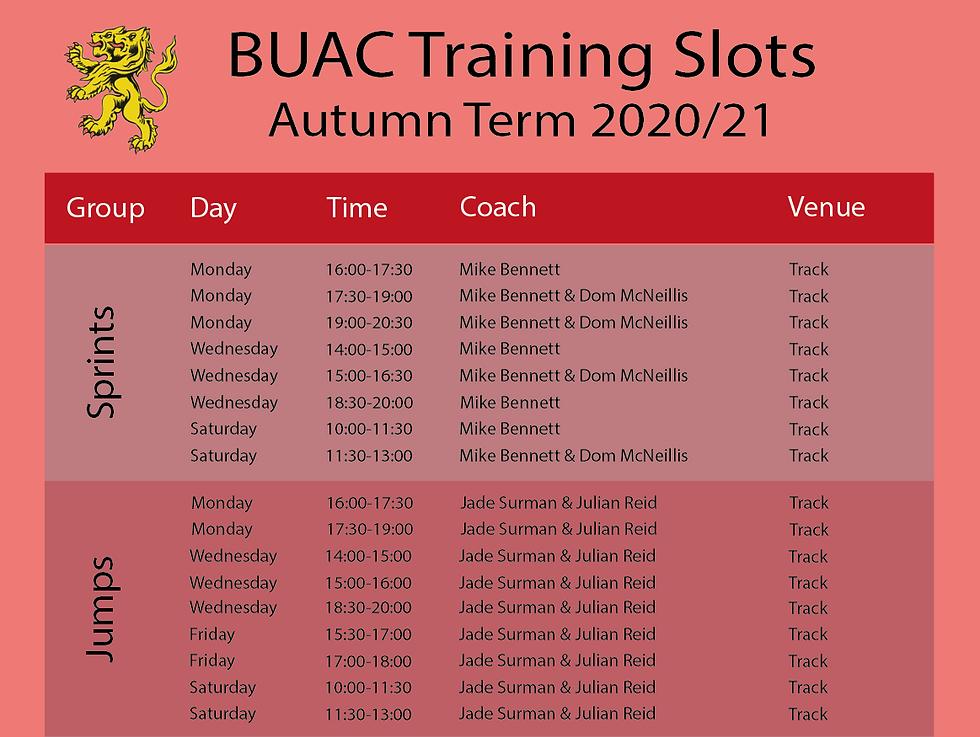 Image of University of Birmingham training schedule part 1