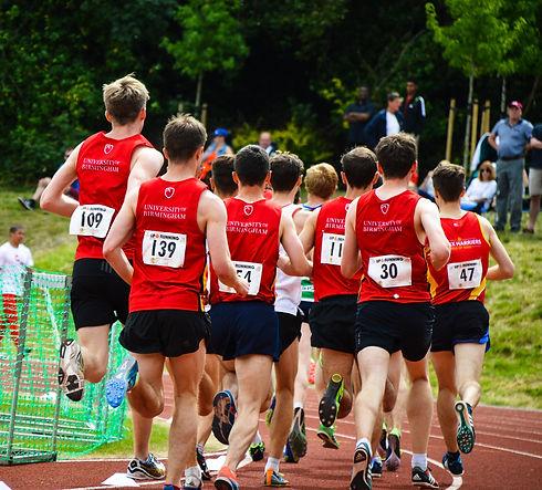 University of Birmingham athletes competing in the 3000m at a University of Birmingham Track and Field Series meeting