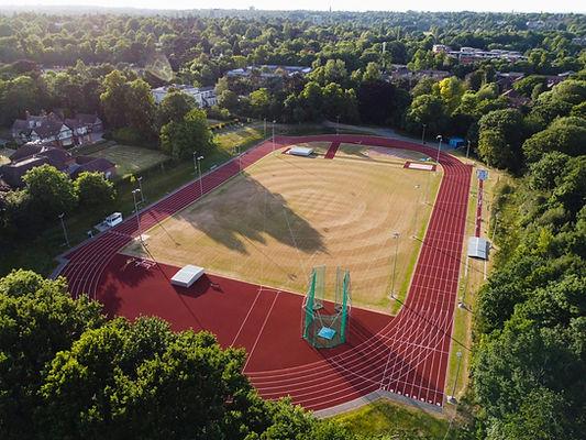 Aerial view of University of Birmingham campus athletics track