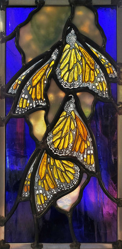 """Monarchs Dangle on Lilac Branch"""