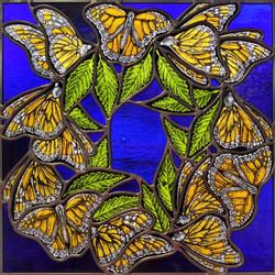 """Monarchs on Elm Wreath"""